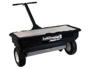 "Special Sale Price on NEW SaltDogg (Buyers) Walk Behind, 2.5 cu ft Broadcast Spreader, 44"" wide, 13"" pneumatic tires, can hold up to 200 lbs of bagged salt or ice melt. Payment must be cash or check."
